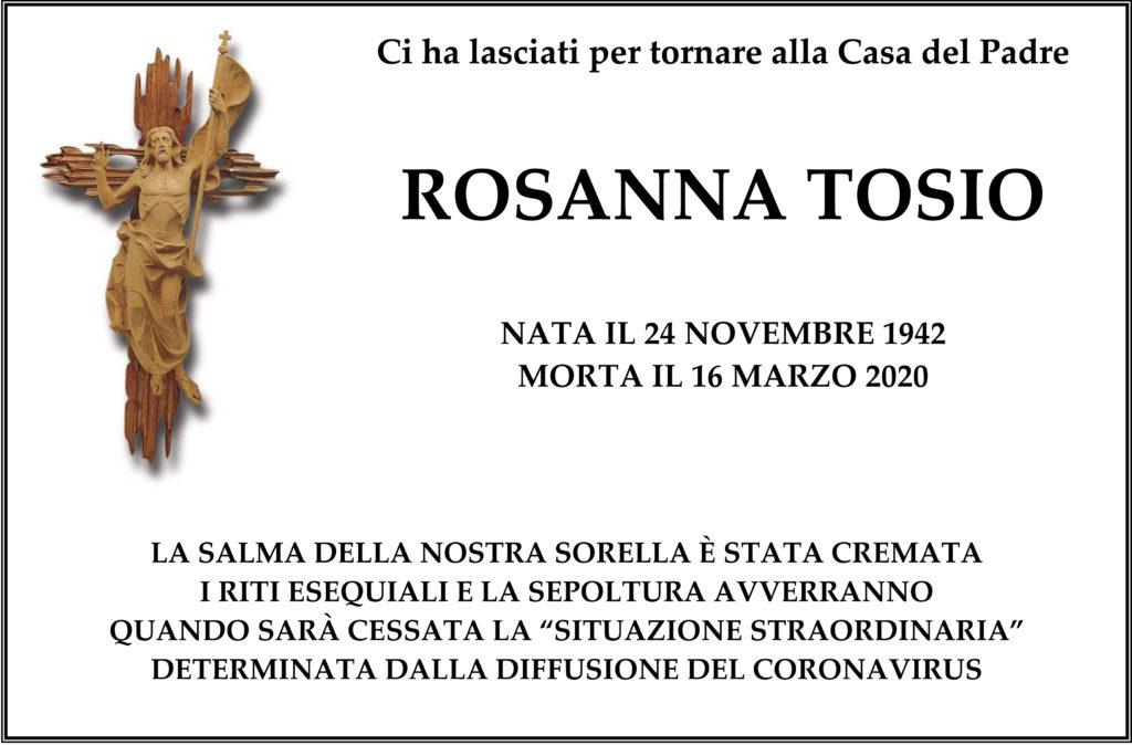 Annuncio funebre di Rosanna Tosio