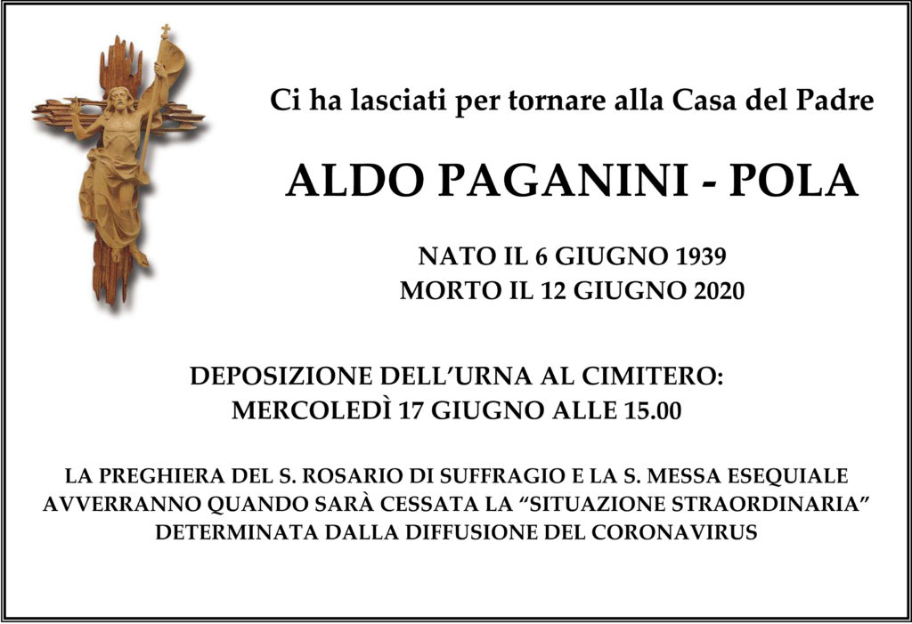 Annuncio funebre Aldo Paganini-Pola