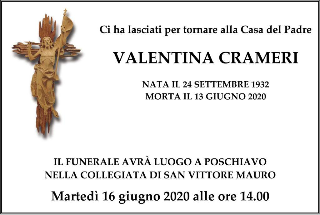Manifesto funebre di Valentina Crameri