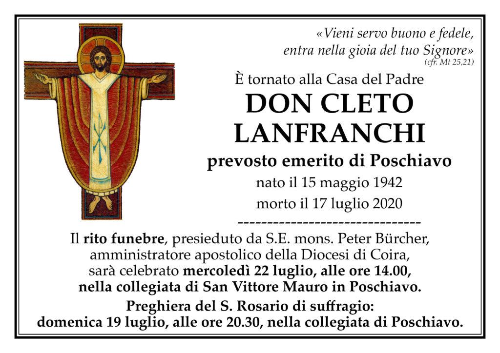 Annuncio funebre di don Cleto Lanfranchi