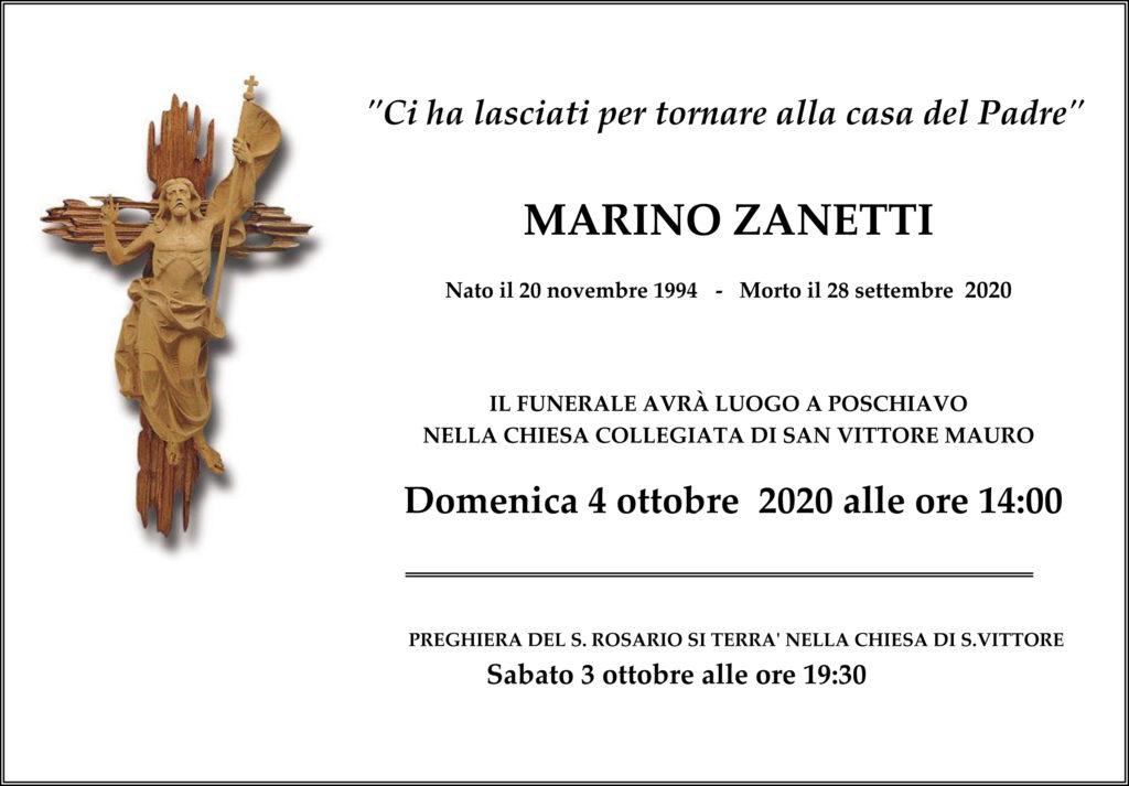Annuncio funebre di Marino Zanetti
